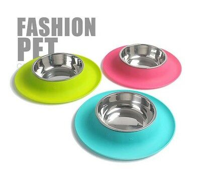 Pet Puppy Cat Feeder Bowl Stainless Steel No Spill Silicone Mat Food Water Bowl