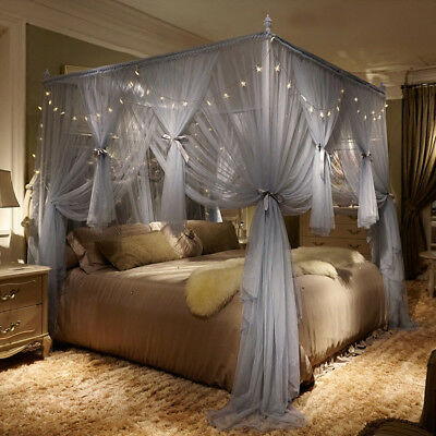 European style 4 Corners Bed Mosquito Net Bedding Curtains+Post Frame