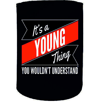 Stubby Holder - Young Thing Surname Personalised - Funny Novelty Birthday Gift