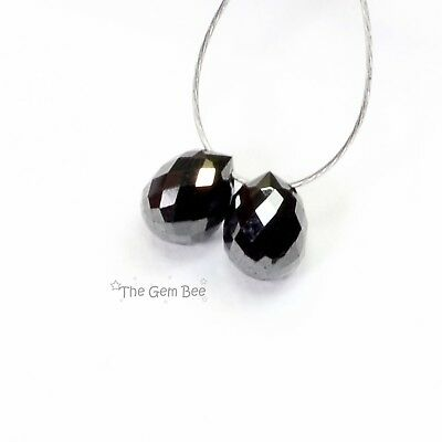 1CT Finest Faceted Natural Black Diamond Full Teardrop Briolette Beads Pair