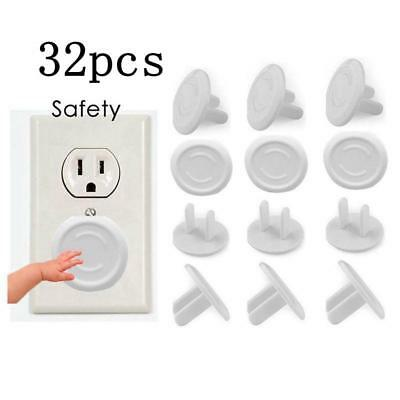 32X US Plug Outlet Plug Safety Covers Cap Clear Child Proof Electrical Protector