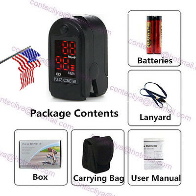 LED Fingertip Pulse oximeter SpO2 PR Blood Oxygen meter monitor,Free TWO Battery