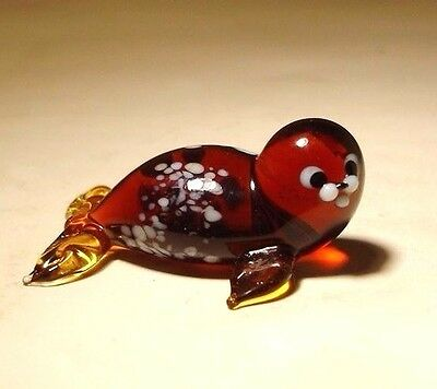 "Blown Glass ""Murano"" Figurine Sea Marine Animal Small Brown Baby SEAL"