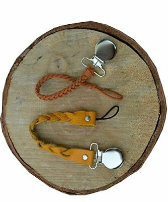 Pacifier Holder Strap Clip 2pack Braided Genuine leather & Suede baby teethers