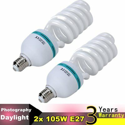 2 X 105W E27 Photography Photo Studio Day Light Bulbs Continuou Lighting CHIC US