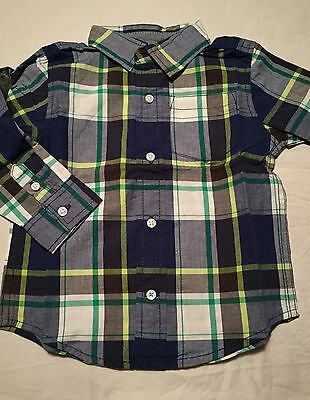Gymboree Ice All Star Boys Long Sleeve Button Up Shirt Size 18-24 Months Nwt