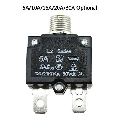 5A-30A thermal switch Push Button Circuit Breaker AC125 DC50V Overload Protect