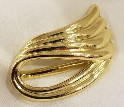 VINTAGE Graceful Swirls Gold-tone Scarf Clip