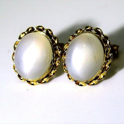 Stunning Large Oval Moonstone 9ct Yellow Gold Rope Twist Stud Earrings