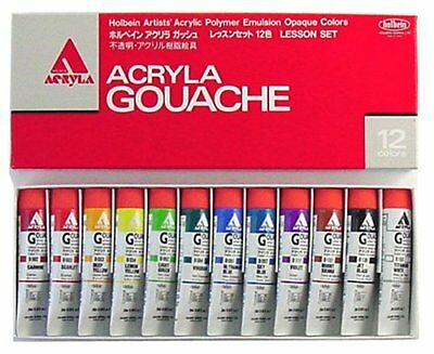 Holbein acrylic La gouache lessons set 12 color D410 20ml JAPAN F/S With track