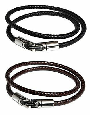 Phiten RAKUWA Bracelet X100 Leather-Textured Model Black & Brown Set32cm w/Track
