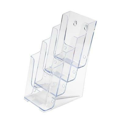 """SourceOne Brochures Holder for 4"""" TriFold Booklets - 4-Tier Clear Acrylic..."""