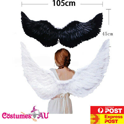 105cm X 45cm Feather Wings White Angel Fairy Black Devil Wing Halloween Costume