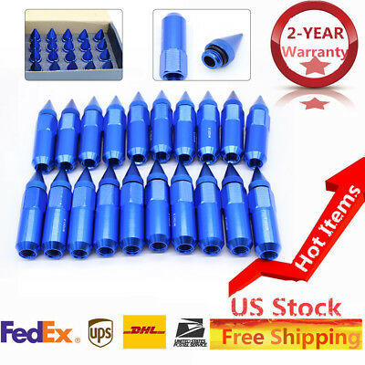 20pcs M12X1.5 Spiked Wheels Rims Lug Nuts Extended Tuner 60mm Aluminum Blue US