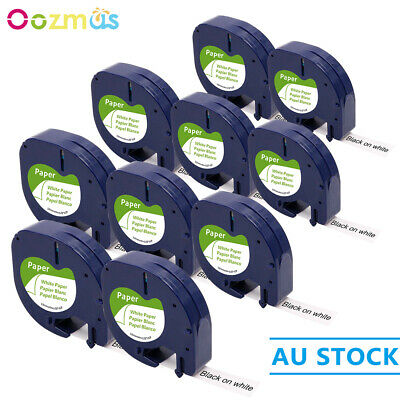 10PK Compatible DYMO 92630 White Paper LetraTag 12mm Label Tape 91330 Laminated
