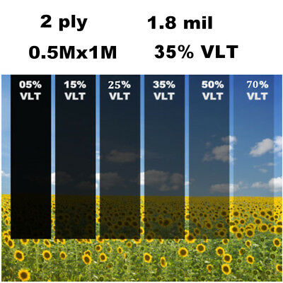 2 PLY Black Glass Window Tint Shade Film VLT 35% Auto Car House Roll 50cm*1M