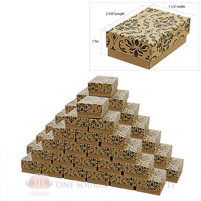"50 Damask Print Cotton Filled Jewelry Gift Boxes  2 5/8"" X 1 1/2"""