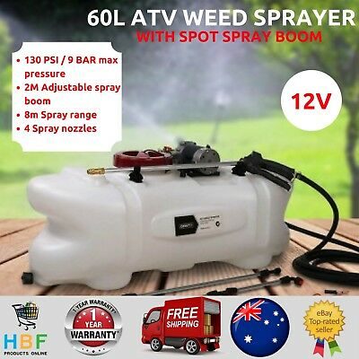 ATV Garden Weed Sprayer 60L Farm Spot Tank Chemical Pump Boom Spray Gun Nozzle