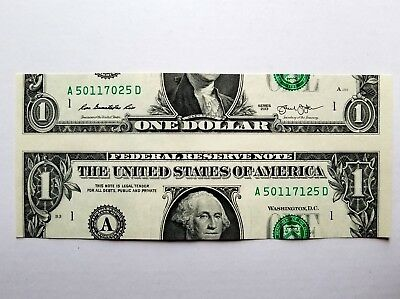 $1 Bill  2013 -- False Cutting Error-Paper Money: USA.