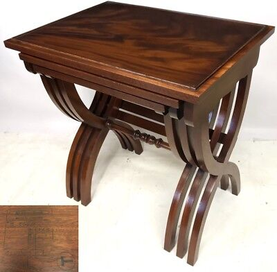 Mahogany SCISSOR LEG Nest of 3 Occasional / Coffee Tables BEVAN FUNNELL REPRODUX