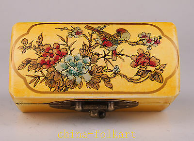 Yellow Leather  Jewelry Box Seal Painting Flower Ornament Collectable