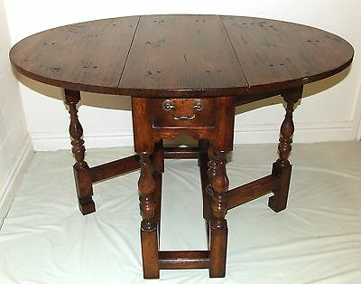 Solid Oak Gateleg Occasional Table Lamp Stand with Drawers : Antique Style