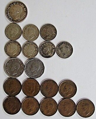 Lot of 19 George VI Canada Coins 1938 - 1951 Circulated Includes 8 Silver Coins