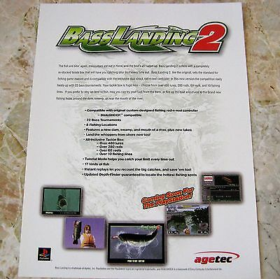 Bass Landing 2 PS1 Ad Poster RARE Agetec E3 Game Expo Promo PlayStation1 Fishing
