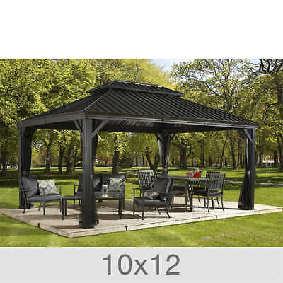 Sojag Messina Galvanized Roof Sun Shelter [NO TAX] Mosquito Net, 10 x 12 Gazebo