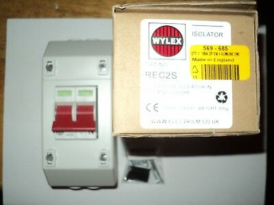 Wylex REC2S Isolator 2 Pole 100A Main Switch and Enclosure