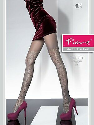 FIORE Gemira Luxury 40 Denier Satin Gloss 3D Patterned Tights - 2 Colours
