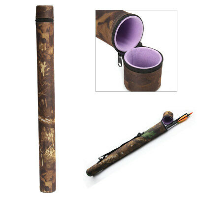 Camouflage Arrow Holder Tube Case Archery Back Quiver Hunting Recurve Bow +Strap