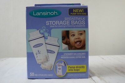 Lansinoh Breastmilk Pre-Sterilized Storage Bags 2 boxes of 50 count = 100 bags