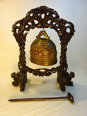 Antique Chinese Bronze Dragon Bell on Carved Wooden Stand
