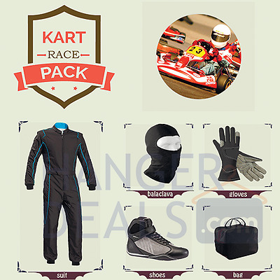 Go Kart Race suit (includes Suit,Gloves,Balaclava & Shoes) free bag- blue lining
