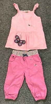 Next Girls Pink Butterfly Embroidered Cropped Trousers And Top Set 4 - 5 Years