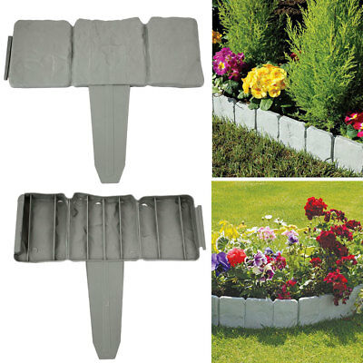1PC Garden Fence 8 Ft Cobbled Stone Effect Garden Lawn Edging Plant Border