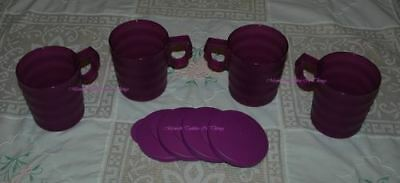 Tupperware Purple Impressions Alfresco Cup Mug Set Of 4 With Lids