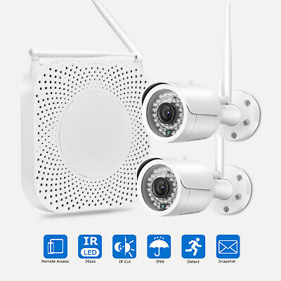 4CH 1080P FHD Outdoor Wireless CCTV IP NVR Security Camera System Kit Wifi Night