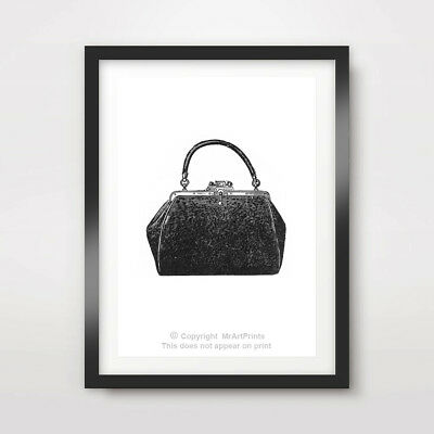 HANDBAG ILLUSTRATION FASHION ART PRINT POSTER Designer Wall Picture Silhouette