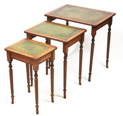 Antique Sheraton Style Yew Leather Top Nest of 3 Tables - FREE Shipping [PL4382]