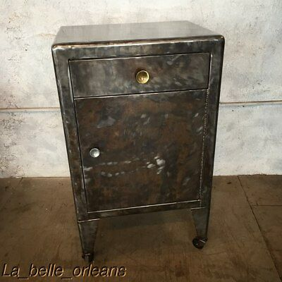 VINTAGE INDUSTRIAL STEEL LOW CABINET / LARGE SIDE TABLE. L@@k!!