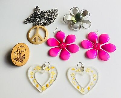Vintage 1960's Flower Power Woodstock Hippie Commune Jewelry Collection Lot