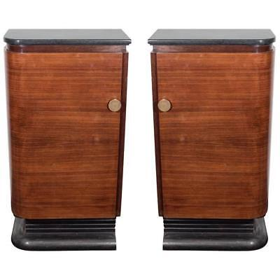 American Art Deco, A Pair of Streamlined Wood & Marble Bar Cabinets, ca. 1940s