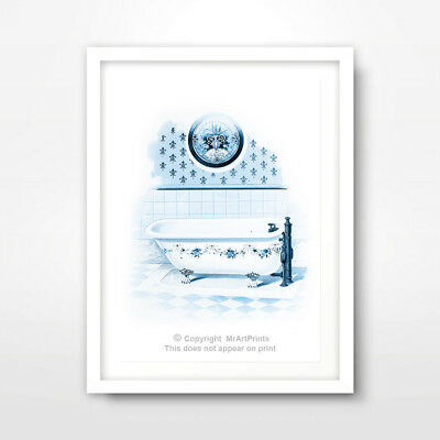 VINTAGE BATHROOM ILLUSTRATION ART PRINT POSTER Room Home Blue Picture Interior