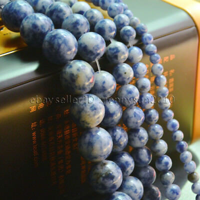 Natural Blue Spot Jasper Gemstone Round Beads 15.5'' 2mm 4mm 6mm 8mm 10mm 12mm