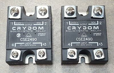 Lot of 2 CRYDOM SOLID STATE RELAY CSE2490 INPUT 15-32V, OUTPUT 240V~90A