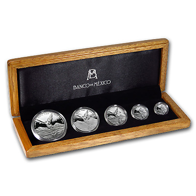 2018 Mexico 5-Coin Silver Libertad Proof Set (1.9 oz, Wood Box) - SKU#162429