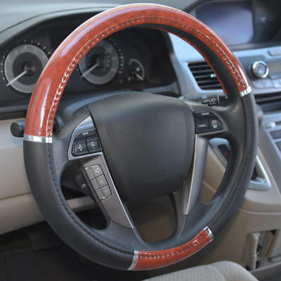 Classic Dark Wood Grain Synthetic Leather Car Steering Wheel Cover (14.5-15.5)