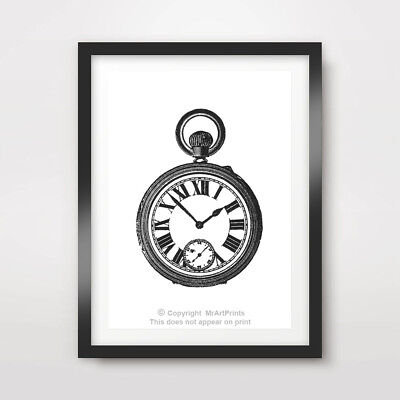 VINTAGE POCKET WATCH BEDROOM ART PRINT Poster Room Home Decor Wall Picture cm